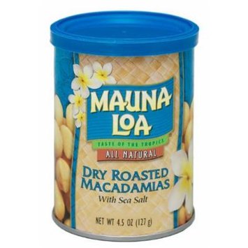 Mauna Loa Dry Roasted Macadamia Nuts 6 Pack Cans 4.5oz Each and 1 Tube of Noni Coco Mango Conditioning Shampoo, and 1 Tube of Gardenia Moisturizing Lotion,