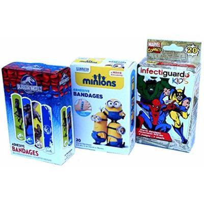 Super Fun Band Aids-Minions, Marvel Avengers, Jurrassic World
