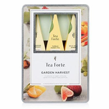 Tea Forté® GARDEN HARVEST WHITE Medium Tin Sampler Gift Assortment with 6 Handcrafted Pyramid Tea Infusers - Rare White Tea