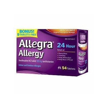 Allegra 24 Hour Allergy, Tablets Bonus Size, 54 ea