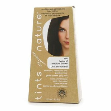 Tints of Nature Conditioning Permanent Hair Color, Natural Medium Brown 4N 4.2 fl oz (120 m)