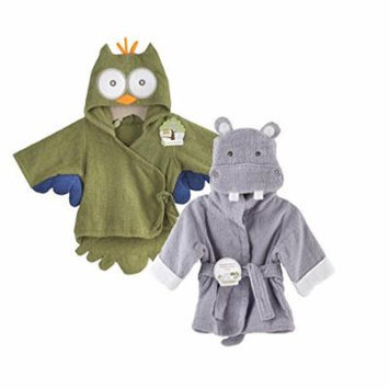 Baby Aspen Terry Cotton Hooded Baby Bath Robe, Twin Pack, Owl/Hippo