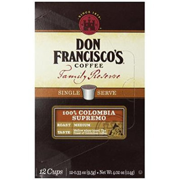 Don Francisco Coffee Family Reserve 100% Colombia Supremo Single Serve Coffee, 12 Count (Pack of 6)