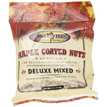 Dennis Farms Maple Coated Mixed Nuts, 4 Ounce Bags (Pack of 4)