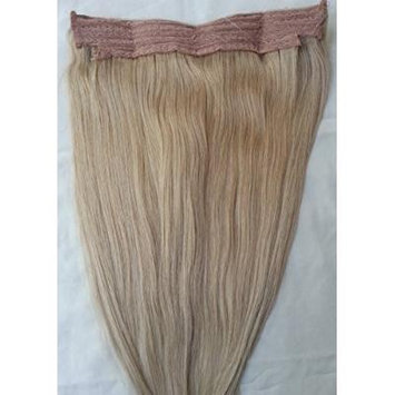 18inches 100% Human Hair Extensions, Halo Style (ONE PIECE NO CLIP) with an adjustable invisible wire (Fishing String) # 18 Dark Blonde