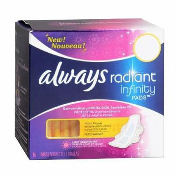 Always Radiant Infinity Pads with Flexi-Wings, Fresh Scent, Regular, 16 ea 1 ea