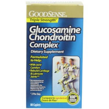 GoodSense Glucosamine Chondroitin Complex Triple Strength Caplets, 80 Count