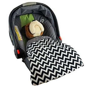 Car Seat Blankie Zig Zag (Black) - Universal Blanket for Car Seats, Beautiful Patterns, Handmade in USA.