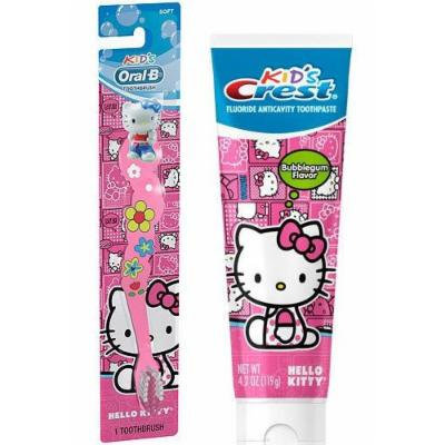 Hello Kitty Ready...Set...Brush! 2 Piece Set Includes: (1) Hello Kitty Soft Manual Toothbrush & (1) Crest Kid's Hello Kitty Bubble Gum Toothpaste 4.2 Oz