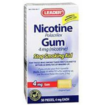 Leader Nicotine Gum 4 mg. Original 50 ct. (Compare to Nicorette Gum)