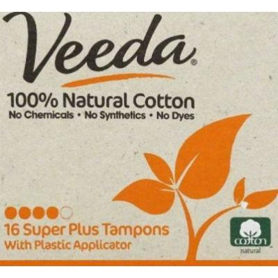 Veeda - Super Plus Tampons with Applicator - 100% Natural Cotton - 16 Count Boxes (Pack of 3)