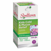 Similasan Kids 2-12 Cold and Mucus Relief Cough Expectorant Syrup 4 oz (118 ml) Pack of 2