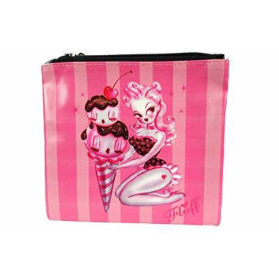 Rockabilly Pinup Ice Cream Parlour Pinup Lady Flat Makeup Bag / Cosmetic Pouch