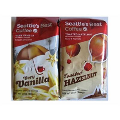 Seattle's Best Ground Coffee Bundle - Very Vanilla 12oz and Toasted Hazelnut 12oz