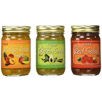 Native Kjalii Foods Ultimate Sports Box Roasted Red Salsa Roasted Green Salsa Mango Peach Salsa, 12 Ounce (Pack of 3)