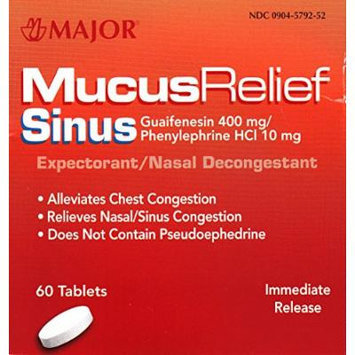 Mucus Relief PE Generic for Mucinex Sinus Congestion Tablets 60 ea.