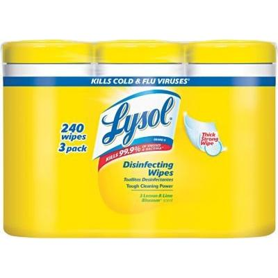 Lysol® Disinfecting Wipe, White, 80/Canister, 3/Pack
