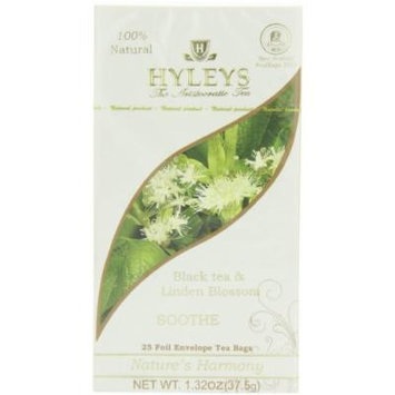 Hyleys Tea Nature's Harmony Black Tea Bags with Linden Blossom In Foil Envelopes, 1.32-Ounce Packages (Pack of 12)