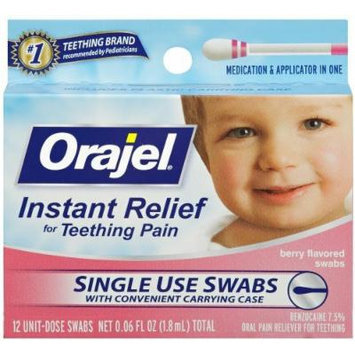 Baby Orajel Instant Teething Pain Relief Swabs 12 Ct Pack of 6