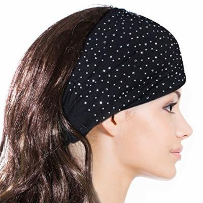 Sparkling Rhinestone and Dots Wide Elastic Headband - Black