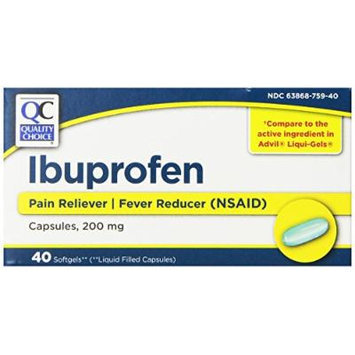 Quality Choice Ibuprofen 200mg. Liquid Filled Capsules 40-Count Boxes (Pack of 3)