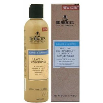 Dr. Miracles Cleanse & Condition Double Pack (Tingling 2 In 1 Dandruff Shampoo & Conditioner, Leave In Conditioner)