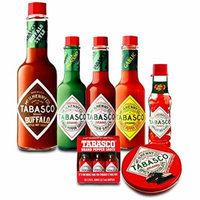 Tabasco Sauce and Chocolate Pack: Buffalo Style, Garlic Pepper, Original, Green Jalapeno, 6 Original Travel Miniatures, Tabasco Spicy Dark Chocolate Wedges, Jelly Belly Tabasco Beans - Gift Bundle