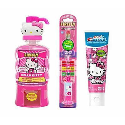 Firefly Hello Kitty Ready Set Go Light Up Toothbrush, Hello Kitty BubbleGum Crest Kids Toothpaste Plus Bonus Firefly Hello Kitty Melon Kiss Flavor Anticavity Fluoride Rinse, 14 fl oz