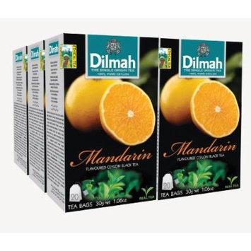 Dilmah Fun Tea, Mandarin, Single Origin Pure Ceylon, 20 Count String & Tag, (Pack of 6)