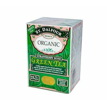 ST. DALFOUR Organic Green Tea, Tea Bags, Strawberry Rose, 1.75-Ounce Bags, 25-Count Boxes (Pack of 6)