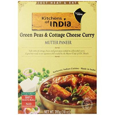 Kitchens of India Ready to Eat Dish, Green Peas and Cottage Cheese Curry (Mutter Paneer), 10 Ounce (Pack of 6)