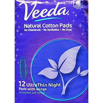 Veeda - Ultra Thin Night Pads with Wings - Natural Cotton - 12 Count - Pack of 3