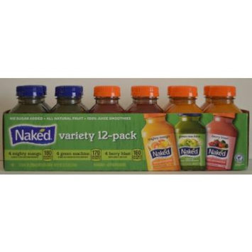 Naked Variety Pack Juice Smoothie 8 Mighty Mango , 8 Green Machine, 8 Berry Blast Total 24 Pack