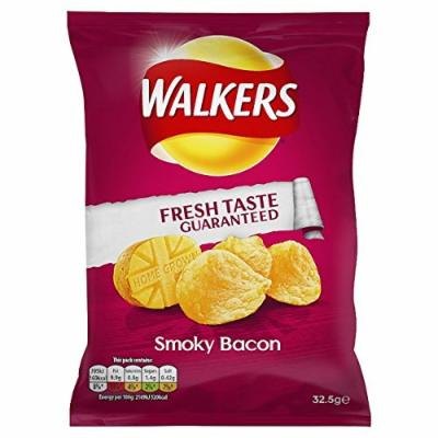 Walkers Smoky Bacon Flavour Crisps 32.5g (Pack of 6)
