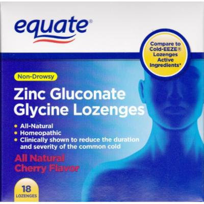 Equate Zinc Gluconate Glycine Lozenges Non-Drowsy Compare to Cold-EEZE