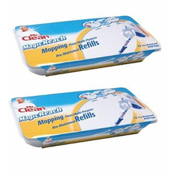 Mr. Clean 443870 Magic Reach Mopping Floor/Multipurpose Pads , 2 Packs of 12 refill pads = 24 total pads)