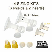 Breastshield Sizing Kit - Small; One-Piece Breastshield w/ Valve, Membrane for Medela Breast Pumps (Pump in Style, Lactina, Symphony), Choices of Breastshields Size 19 - 24 mm in Retail Packaging (Factory Sealed); Made by Maymom (Combo- 19 21 22 24 mm)
