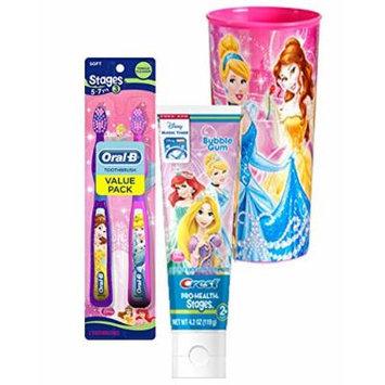 Disney Princess Twin Value Pack Soft Manual Toothbrush & Crest Disney Princess Bubble Gum Toothpaste 4.2 Oz Plus Bonus Princess Mouth Was Rinse Cup!