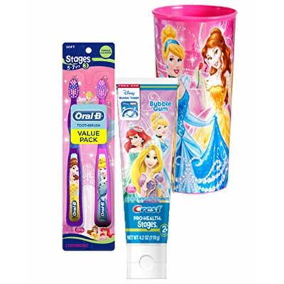 Disney Princess Twin Value Pack Soft Manual Toothbrush & Crest Disney Princess Bubble Gum Toothpaste 4.2 Oz Plus Bonus Princess Mouth Was Rinse Cup!