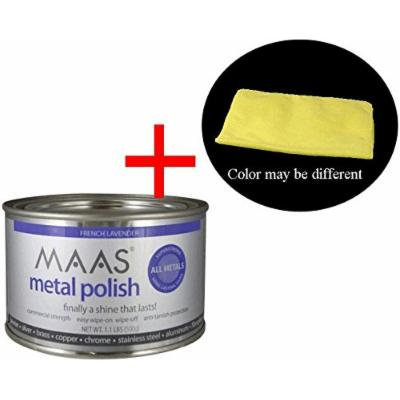 MAAS 1.1lb Can Silver Brass Copper Metal Polish with ML Tools Multi-Purpose Microfiber Cleaning Cloth