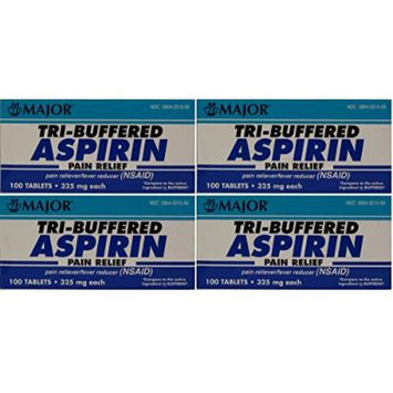 Tri Buffered Aspirin Tablets Generic for Bufferin 325 mg 100 Tablets per Bottle Pack of 4 Total 400 Tablets