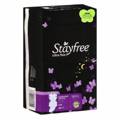 Stayfree - Overnight - Ultra Thin Pads with Wings - 28 Count - Pack of 3