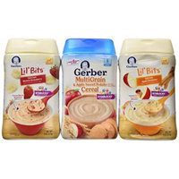 Gerber Baby Cereal 3 Flavor Variety Bundle: (1) Gerber Lil' Bits Oatmeal Banana Strawberry Cereal, (1) Gerber Lil' Bits Oatmeal Apple Cinnamon Cereal, and (1) Gerber MultiGrain & Apple Sweet Potato Cereal, 8 Oz. Ea. (3 Cereal Boxes)