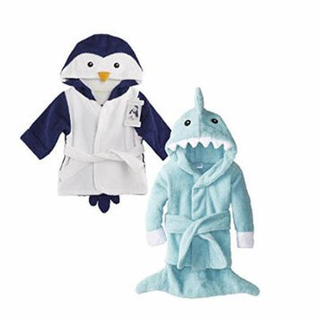 Baby Aspen Terry Cotton Hooded Baby Bath Robe, Twin Pack, Penguin/Shark