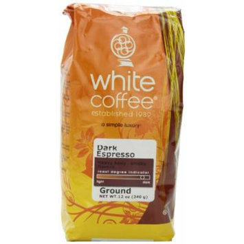 White Coffee Dark Espresso Ground Coffee, 12 Ounce Bag
