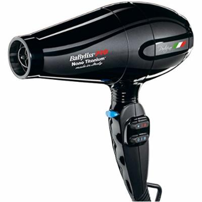 Babyliss 2000 Watt Nano Titanium Portofino Hair Dryer with ITALIAN AC Motor, 6 Heat/Speed Settings with True Cold Shot Button, BONUS FREE Diffuser and Three Concentrator Attachments