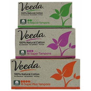 Veeda - Natural Cotton Tampons - Applicator Free - Bundle of 3 Sizes