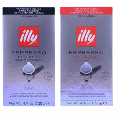 Illy Espresso Coffee ESE Pods Variety Pack (Dark Roast, 18 Count + Medium Roast, 18 Count)