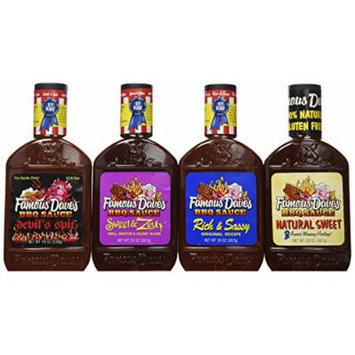 Famous Dave's BBQ Sauce Variety Bundle, 19 oz (Pack of 4) includes 1-Pack Rich & Sassy Flavor + 1-Pack Natural Sweet Flavor + 1-Pack Sweet & Zesty Flavor + 1-Pack Devil's Spit Flavor