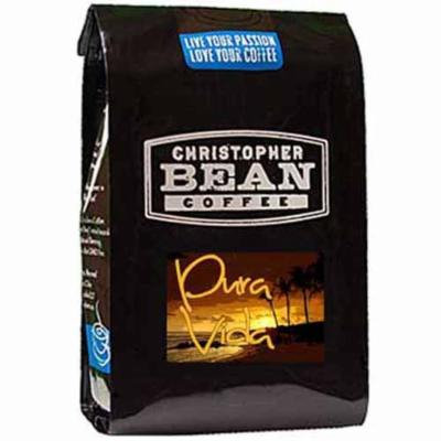 Christopher Bean Coffee Decaffeinated Whole Bean Coffee, Decaf Pura Vida Blend, 12 Ounce
